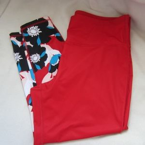 Xersion Red With Flowers Yoga Workout Pants